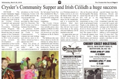 2.  Crysler's Community Supper and Irish Céilidh a huge success - The Chesterville Record March 28, 2018